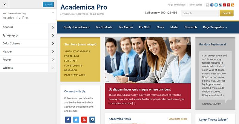 Academica Pro 2.0 Theme Customizer