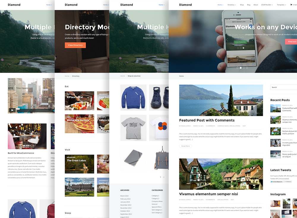 Diamond wordpress directory theme by wpzoom 4 homepage templates accmission Images