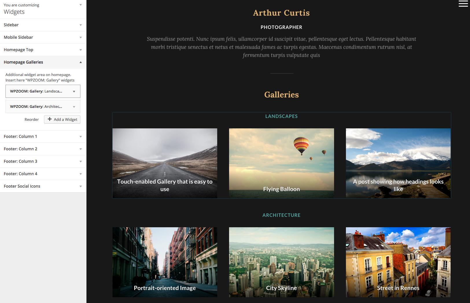 PhotoNote 2.0 • best portfolio WordPress theme for photographers ...