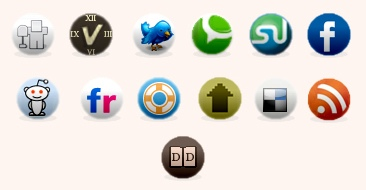 stylish social bookmarking icon set