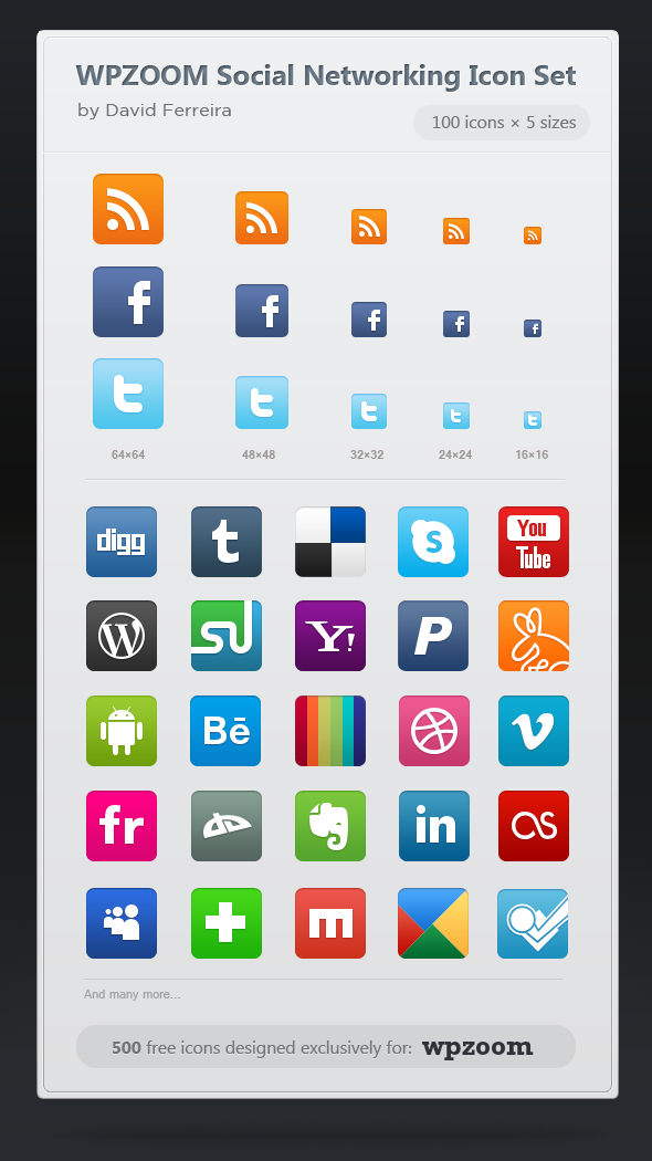 WPZOOM Social Networking Icon Set: 500 free icons!