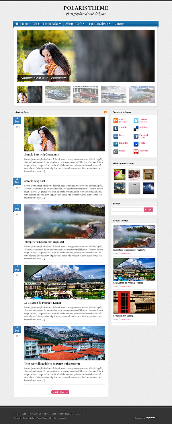 Photography Blogging WordPress Theme