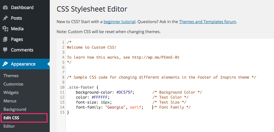 An example of Custom CSS code added using Jetpack Custom CSS feature.