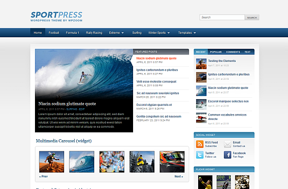 WordPress Sports Theme Released by WPZOOM