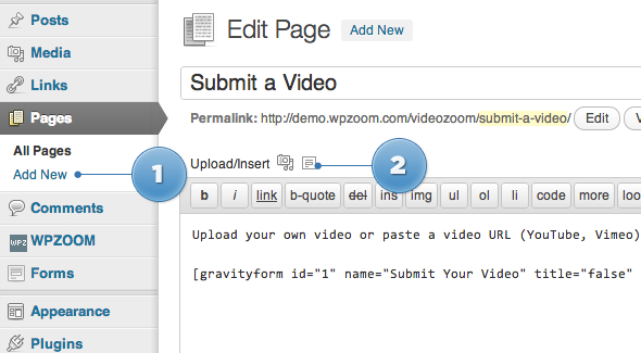 How to create a video submission form in Videozoom theme using ...