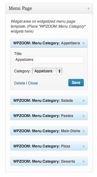 Arrange Food Categories in Menu Page