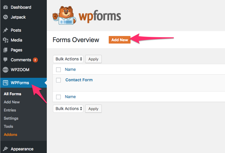 After Installing The Plugin Go To WPForms Page In Dashboard And Click On Add New Button
