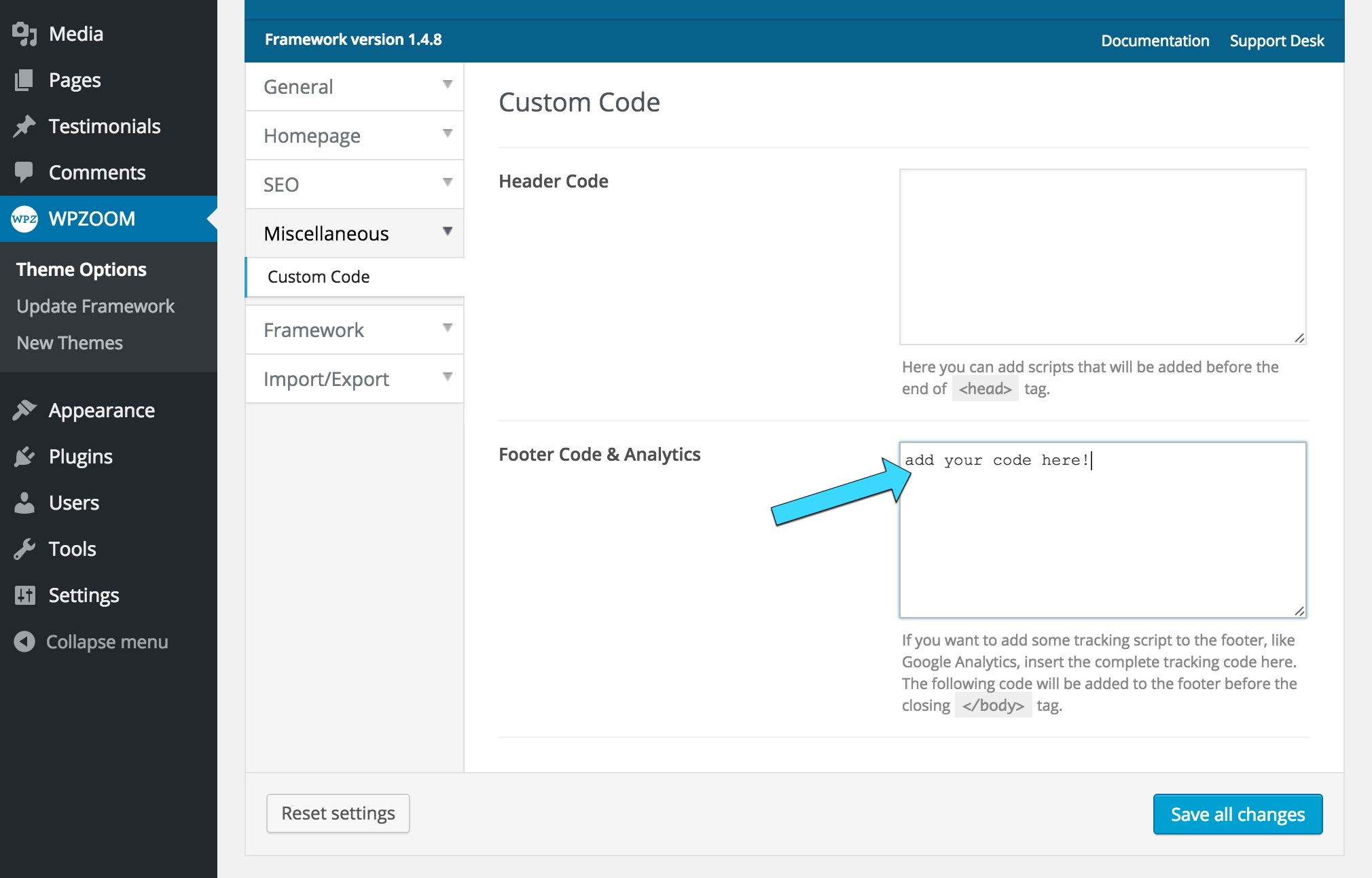 Add Google Analytics Tracking Code to your Theme