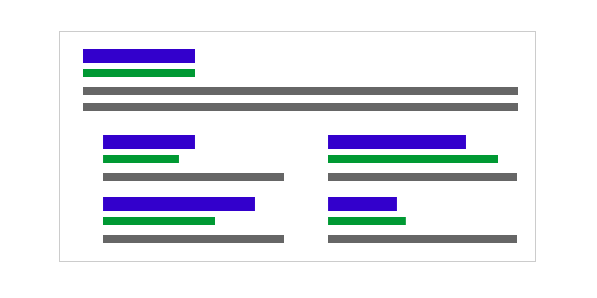 Image shows bars in various colors, emulating a search engine results page for a post on SEO