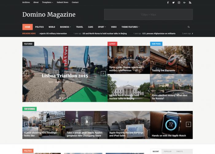 WordPress magazine theme • Domino Magazine – WPZOOM