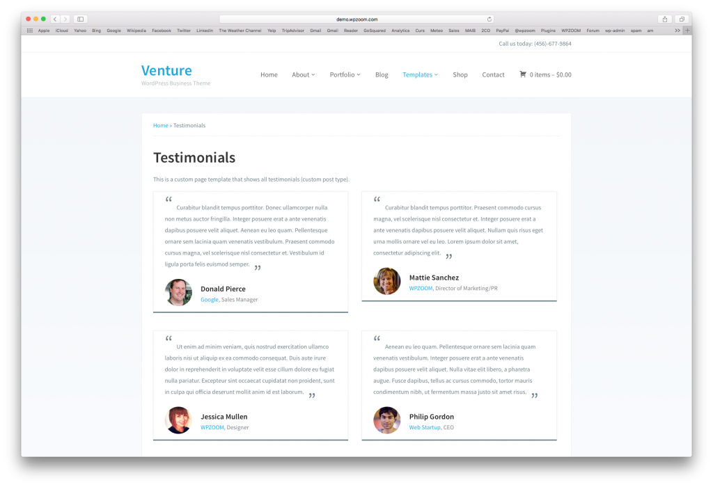 Our Venture theme includes a Page Template that shows all Testimonials on it.