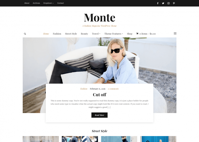 WordPress fashion theme for lifestyle and fashion • Monte – WPZOOM
