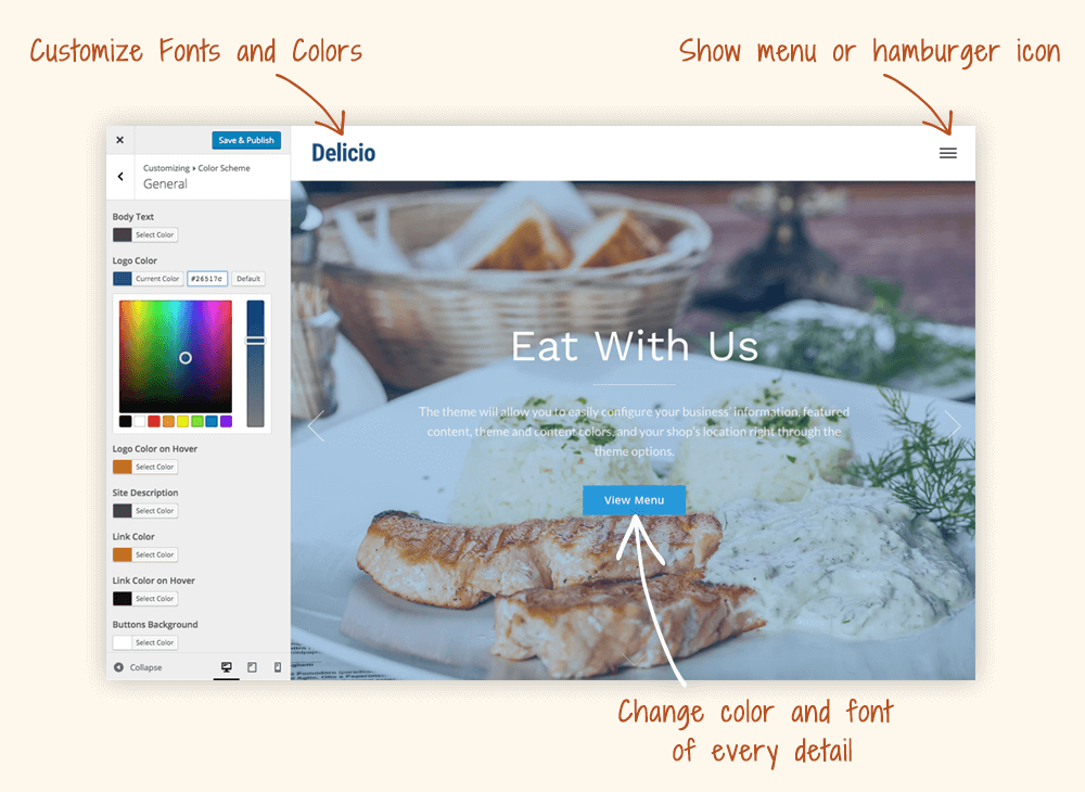 Screenshot of the Delicio WordPress restaurant theme demo