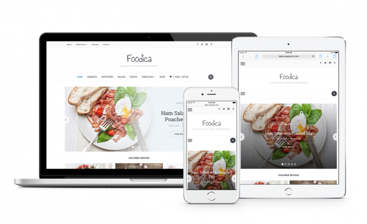 Our popular Foodica theme is well-optimized for site speed.