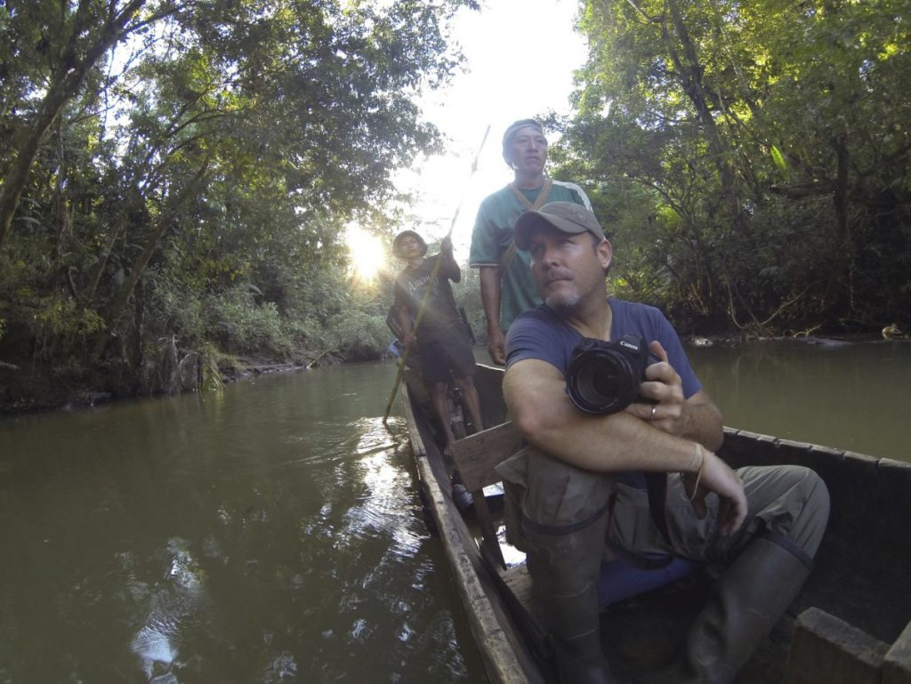 Nik and Dusty travelling the Shiripuno River, Ecuadorian Amazon – another highlight.