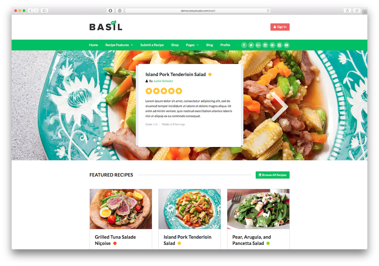 Screenshot of the Basil food blog WordPress theme
