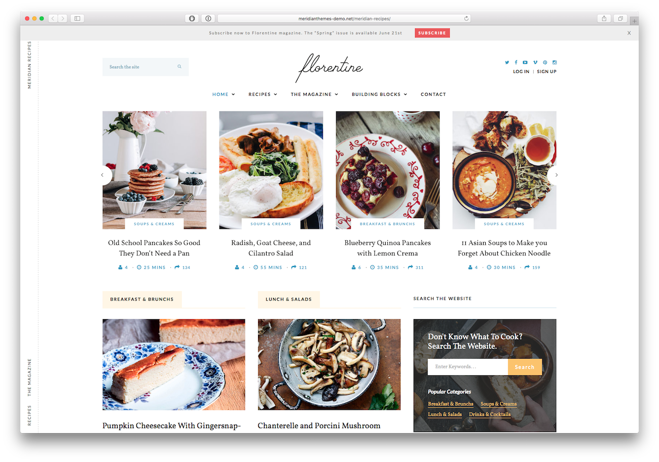 Screenshot of the Florentine food blog WordPress theme