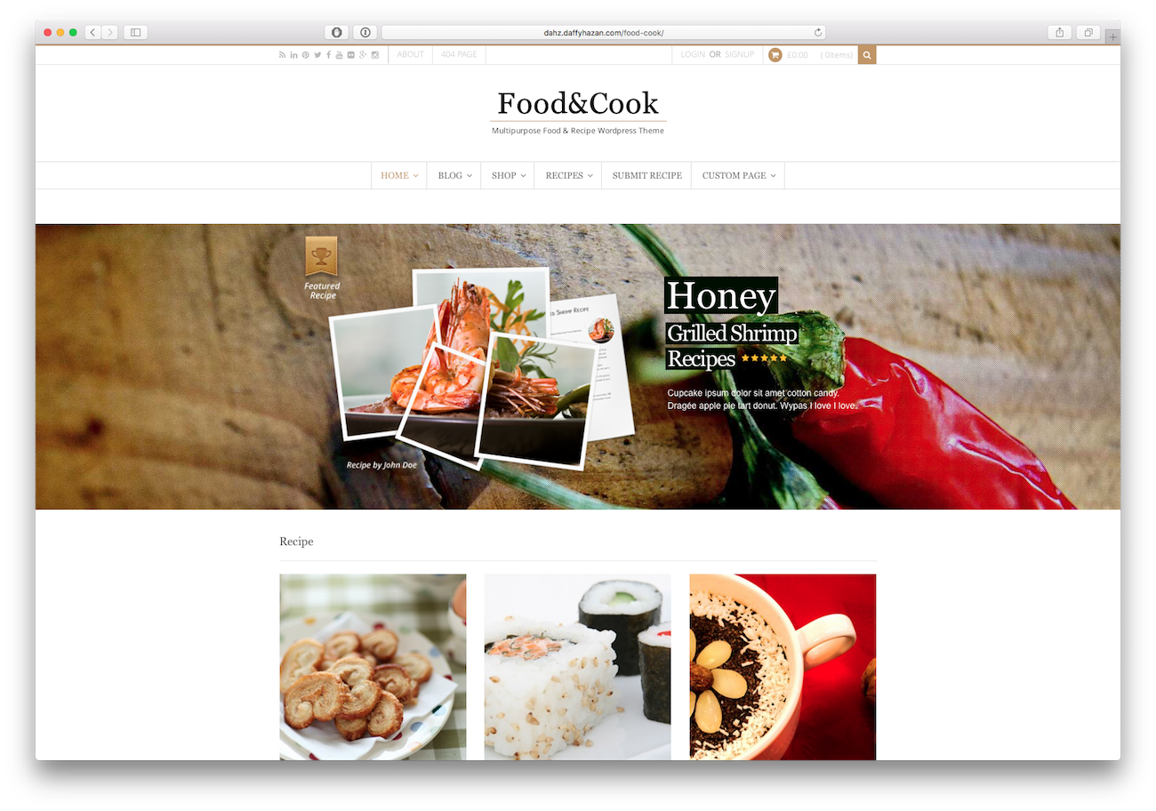 Screenshot of the Food&Cook food blog WordPress theme