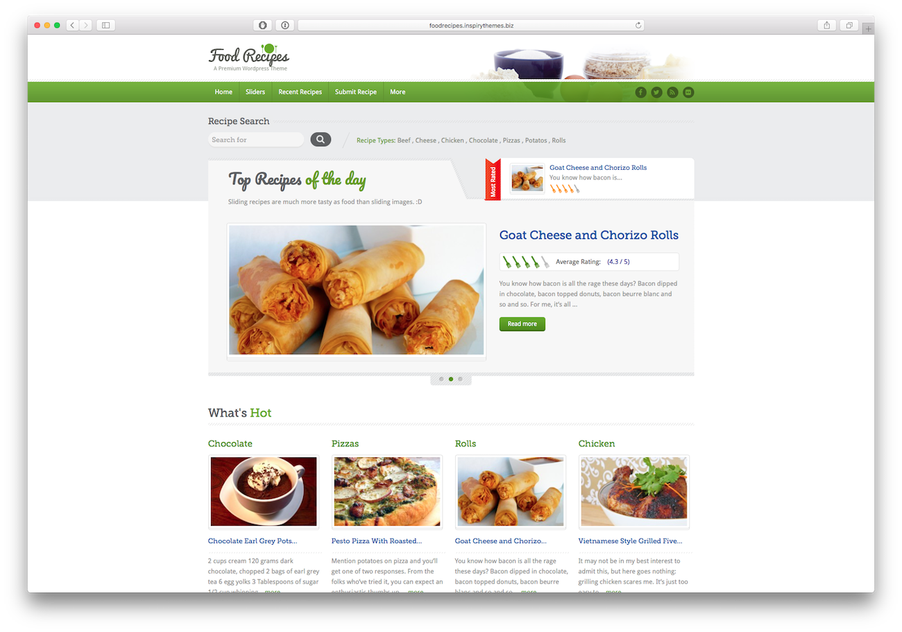 Screenshot of the Food Recipes food blog WordPress theme