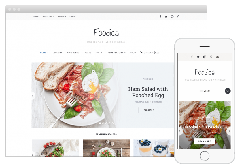 Foodica is our favorite of these food blog WordPress themes