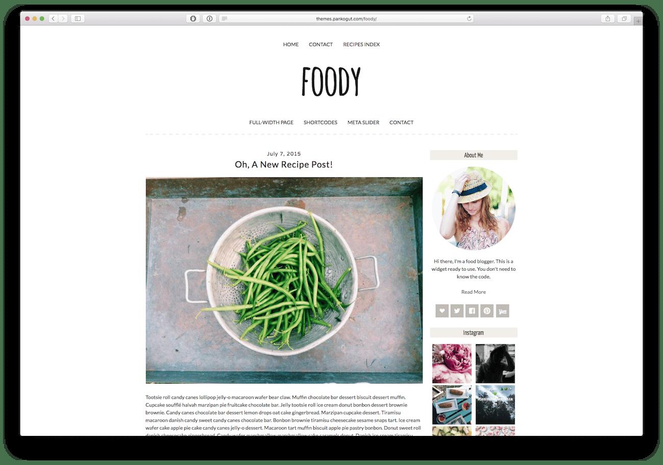 Screenshot of the Foody food blog WordPress theme