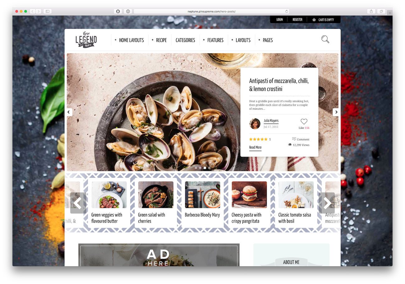 Screenshot of the Neptune food blog WordPress theme