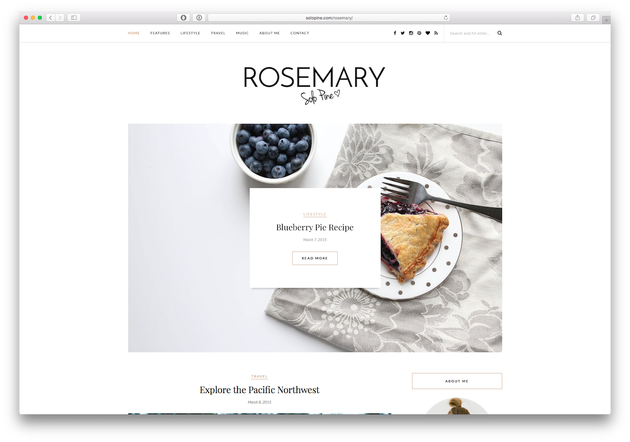 Screenshot of the Rosemary food blog WordPress theme