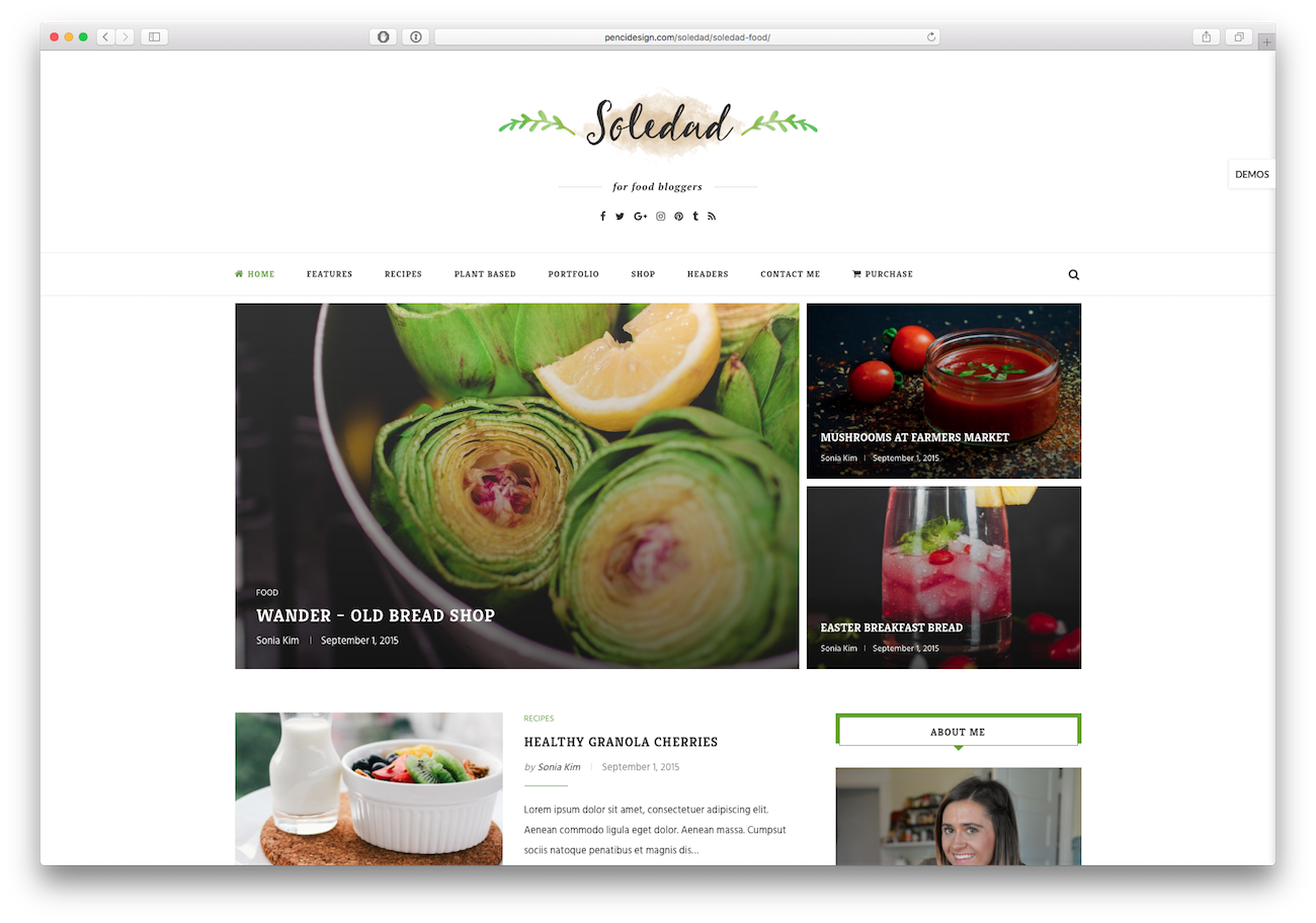 Screenshot of the Soledad food blog WordPress theme