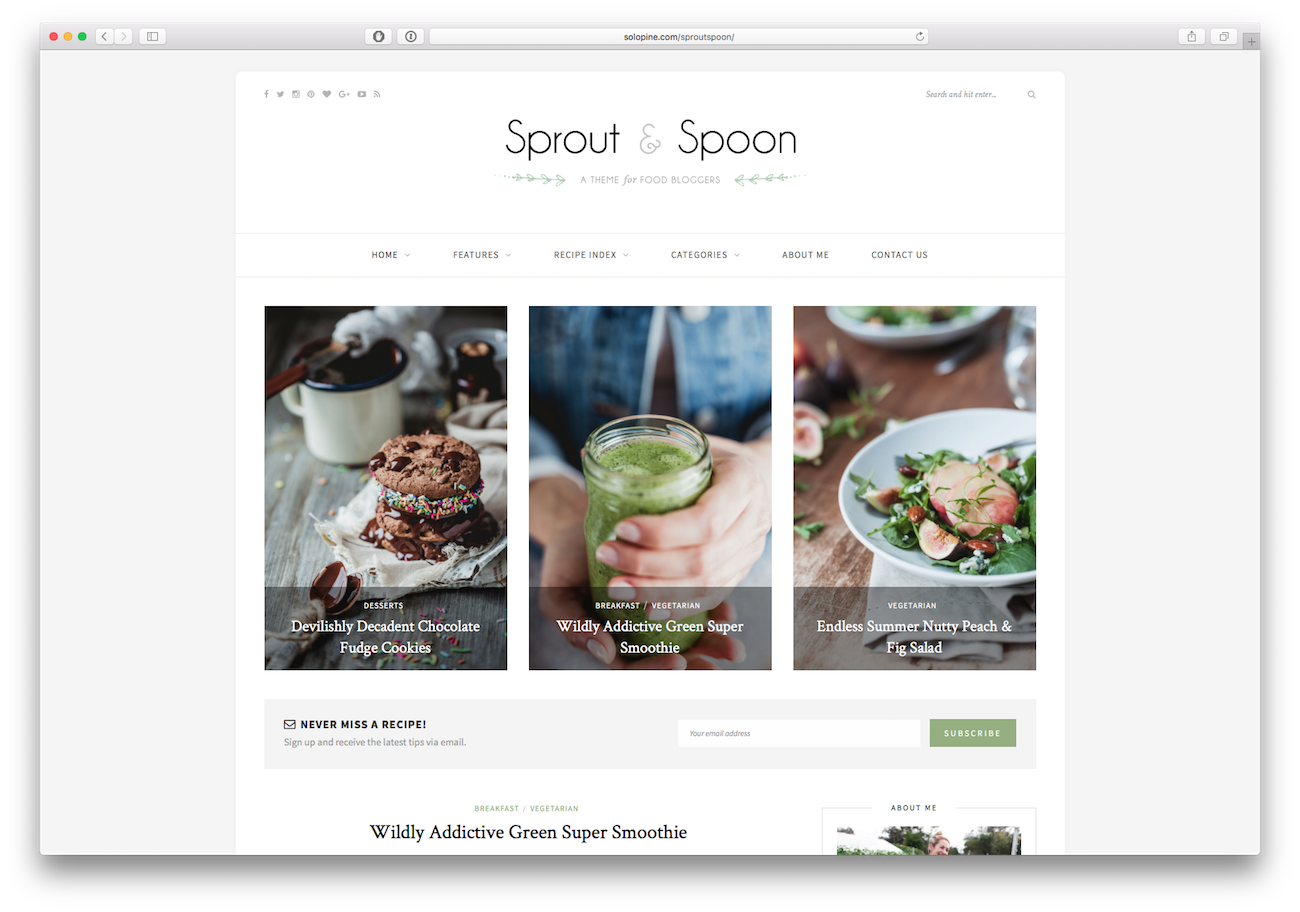 Screenshot of the Sprout & Spoon food blog WordPress theme