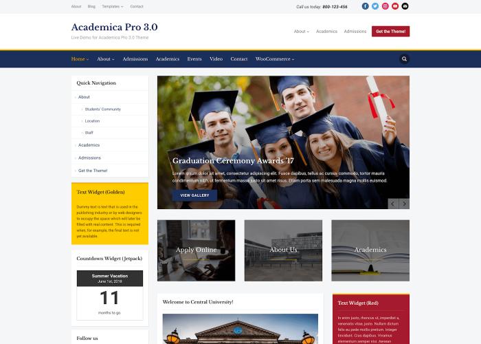 academica pro 30 live demoeducation organization wordpress theme