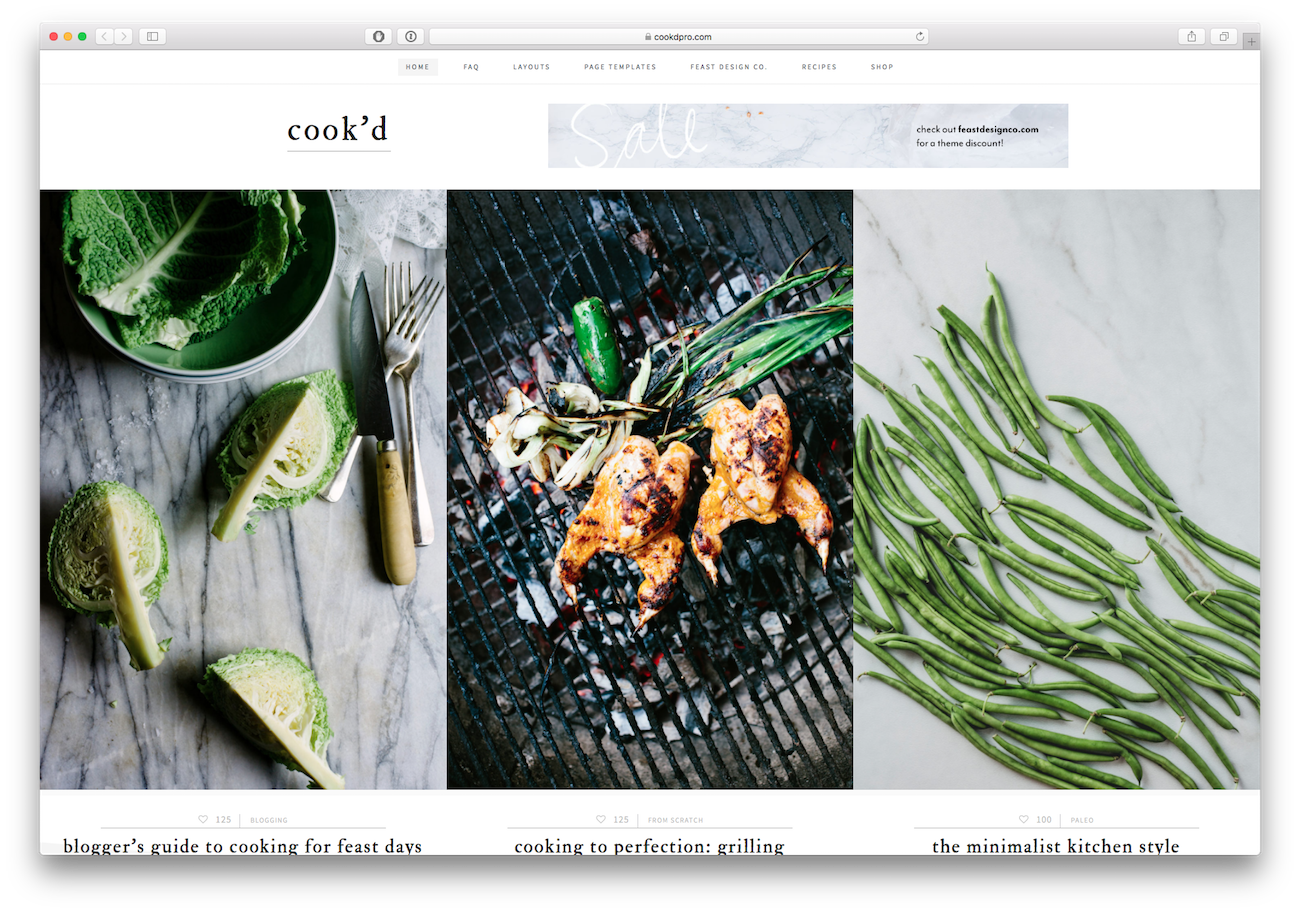 Screenshot of the Cook'd Pro food blog WordPress theme