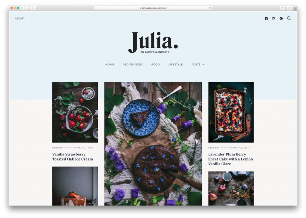 Screenshot of the Julia food blog WordPress theme
