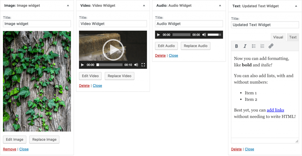 The four new widgets included in WordPress 4.8.