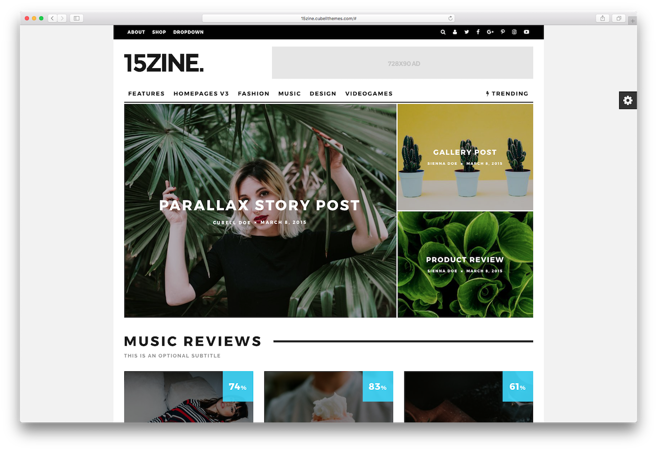 WordPress magazine themes 15zine
