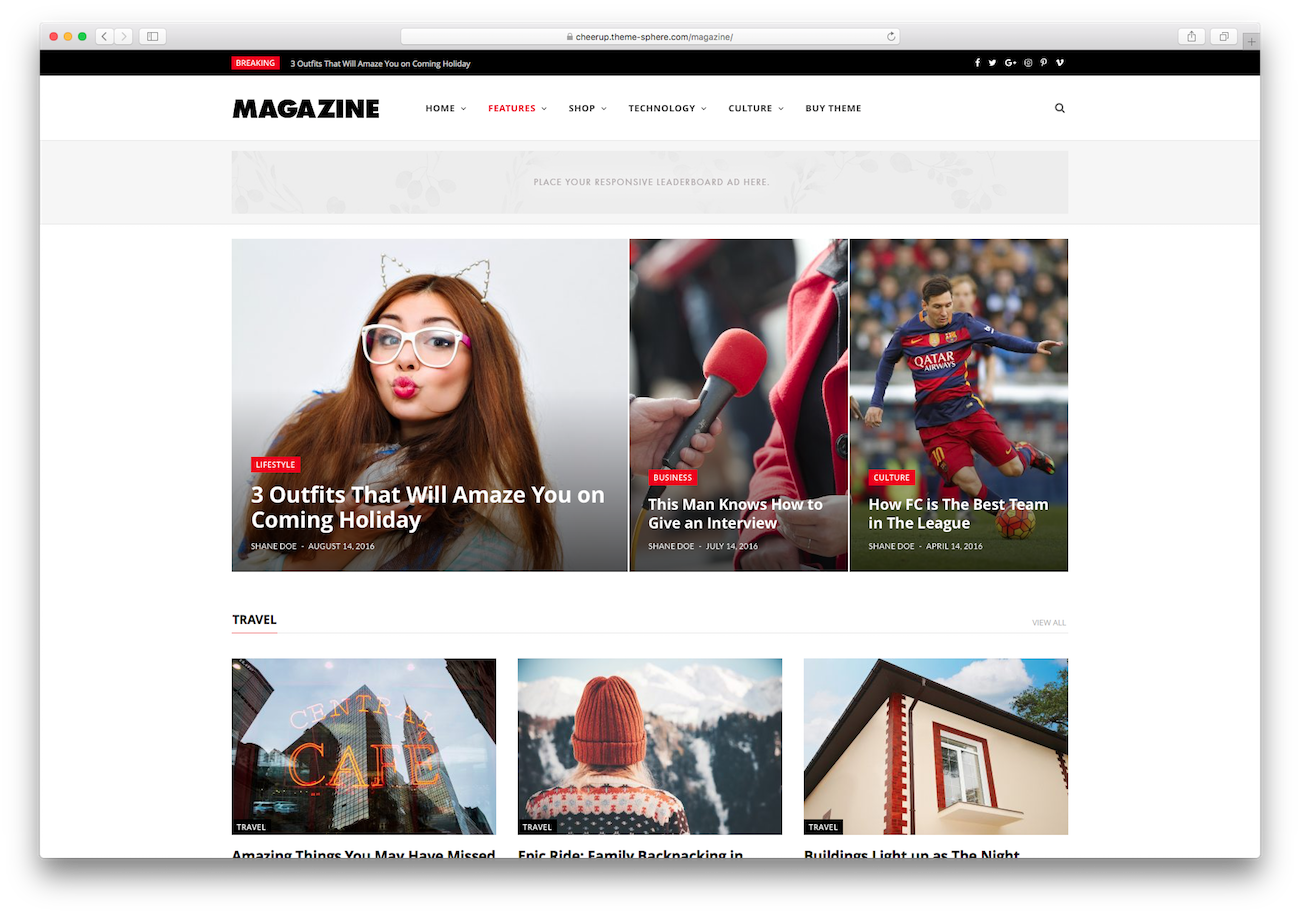 WordPress magazine themes CheerUp