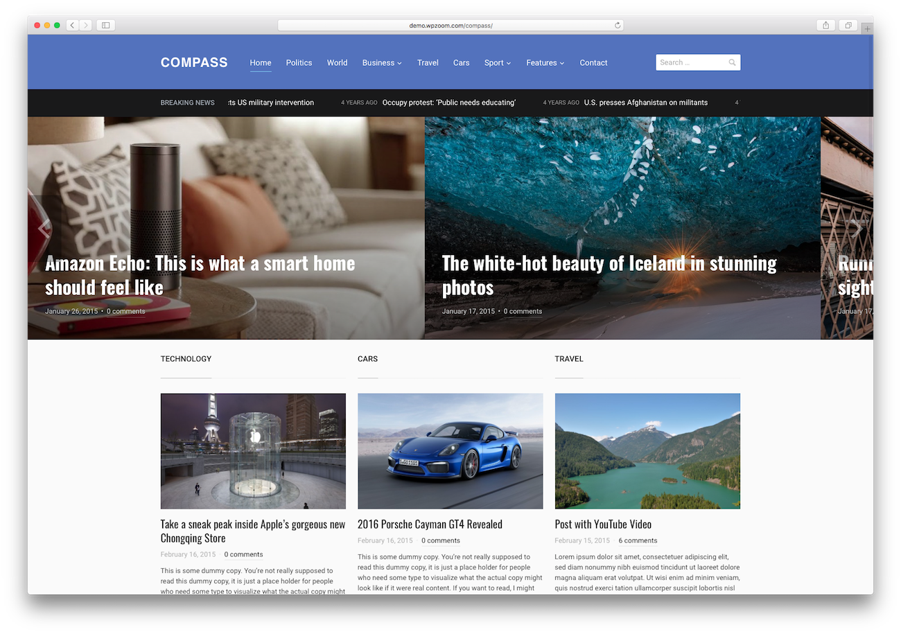 WordPress magazine themes Compass
