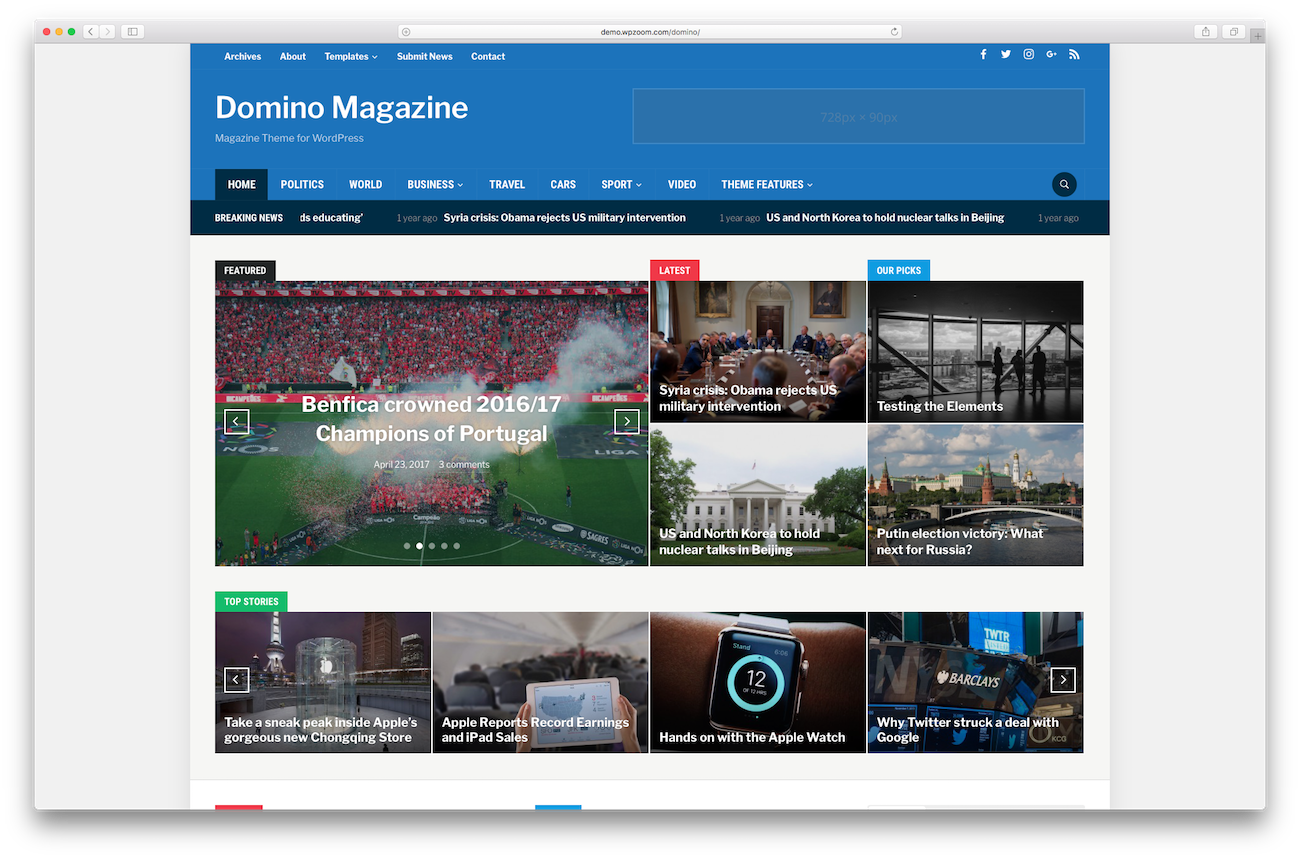 Magazine WordPress magazine themes Domino