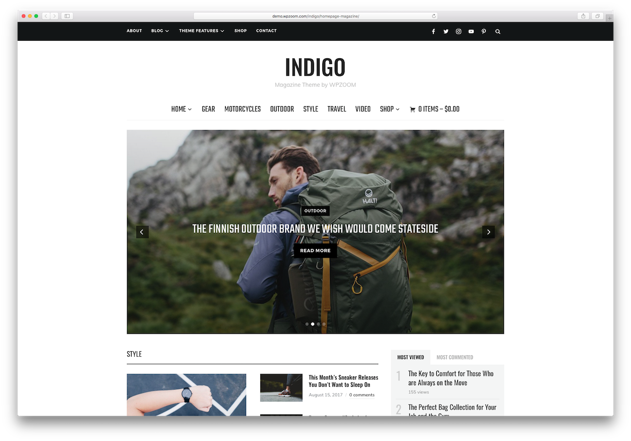 WordPress magazine themes Indigo