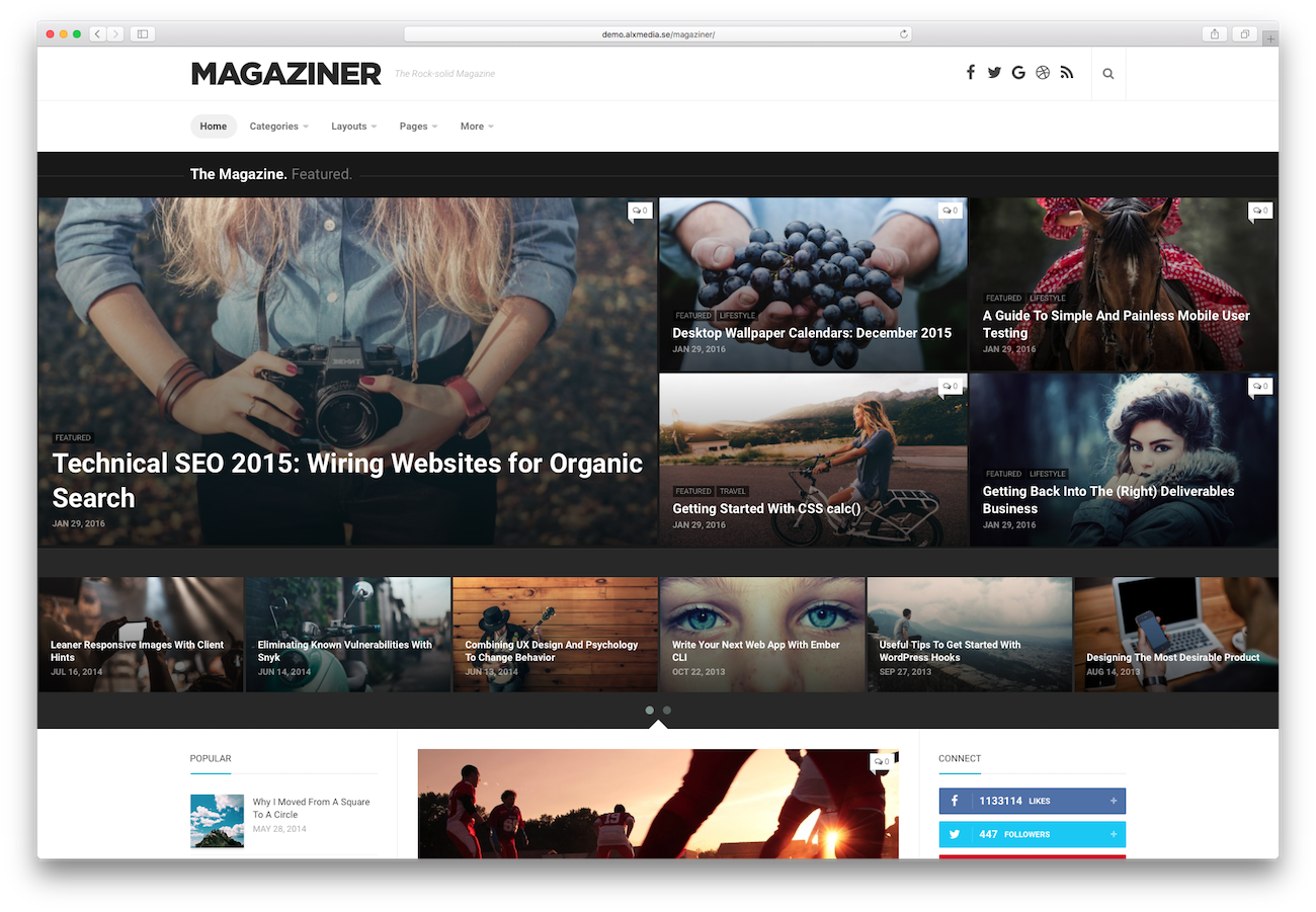 WordPress magazine themes Magaziner