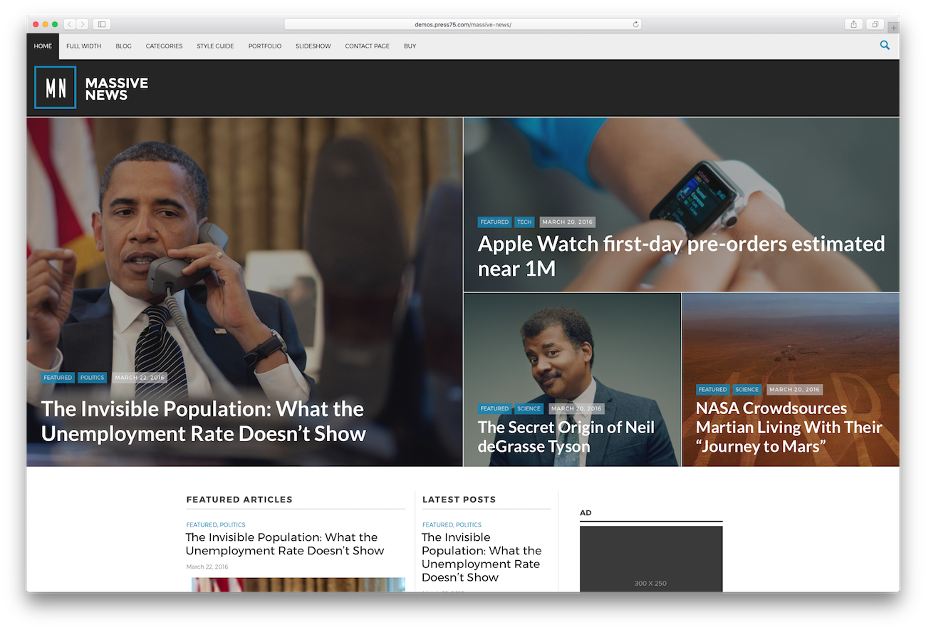 WordPress magazine themes Massive News