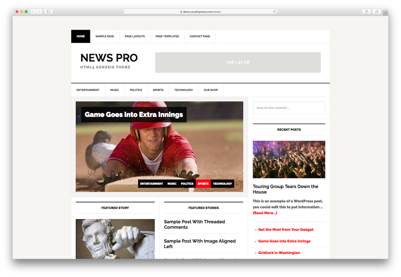 WordPress magazine themes News Pro