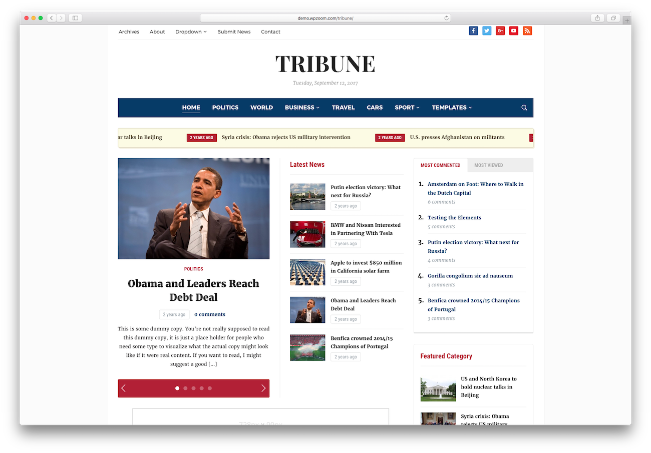 WordPress magazine themes Tribune