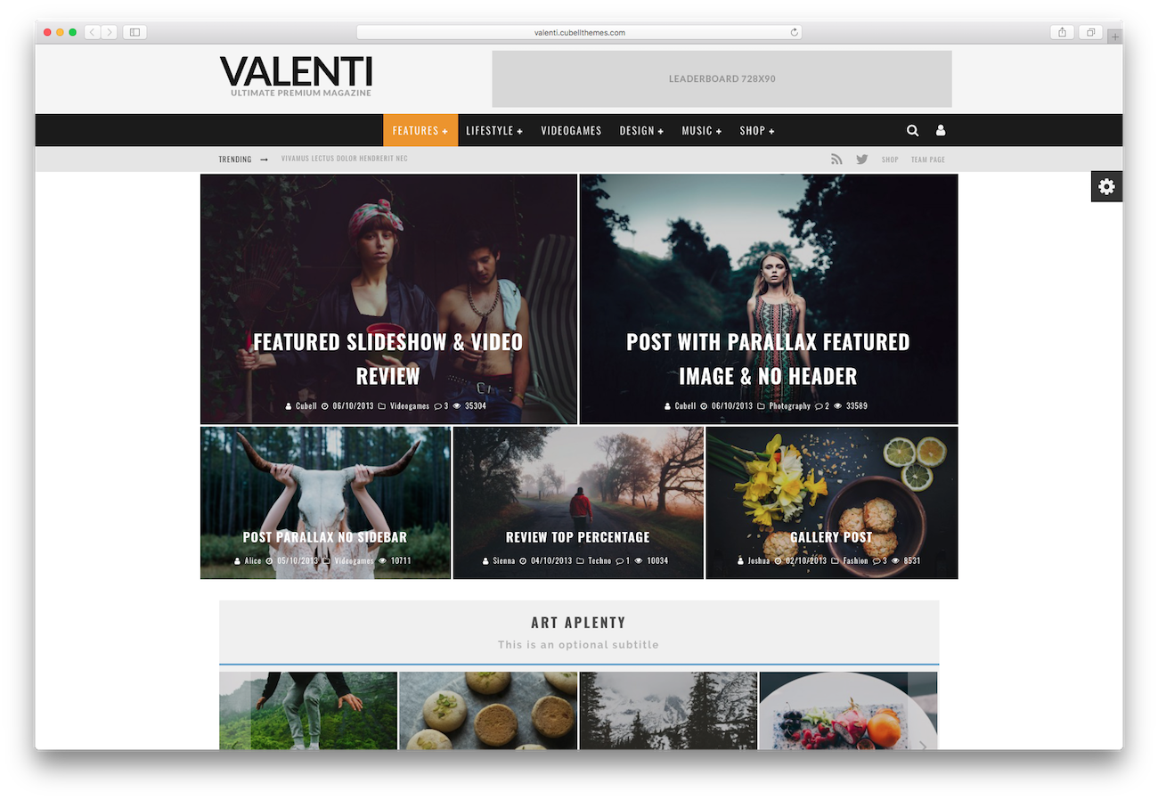 WordPress magazine themes Valenti