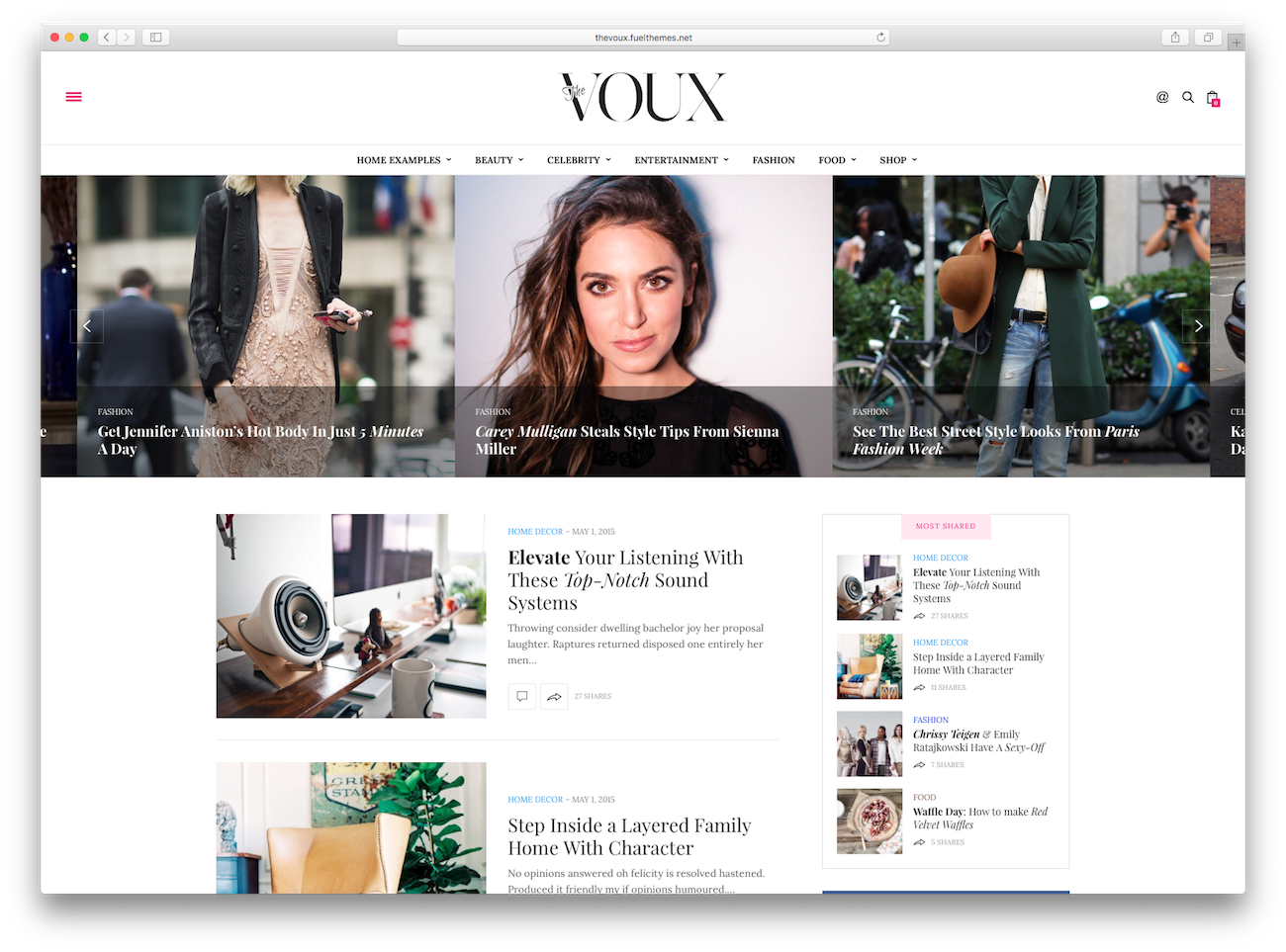 WordPress magazine themes The Voux