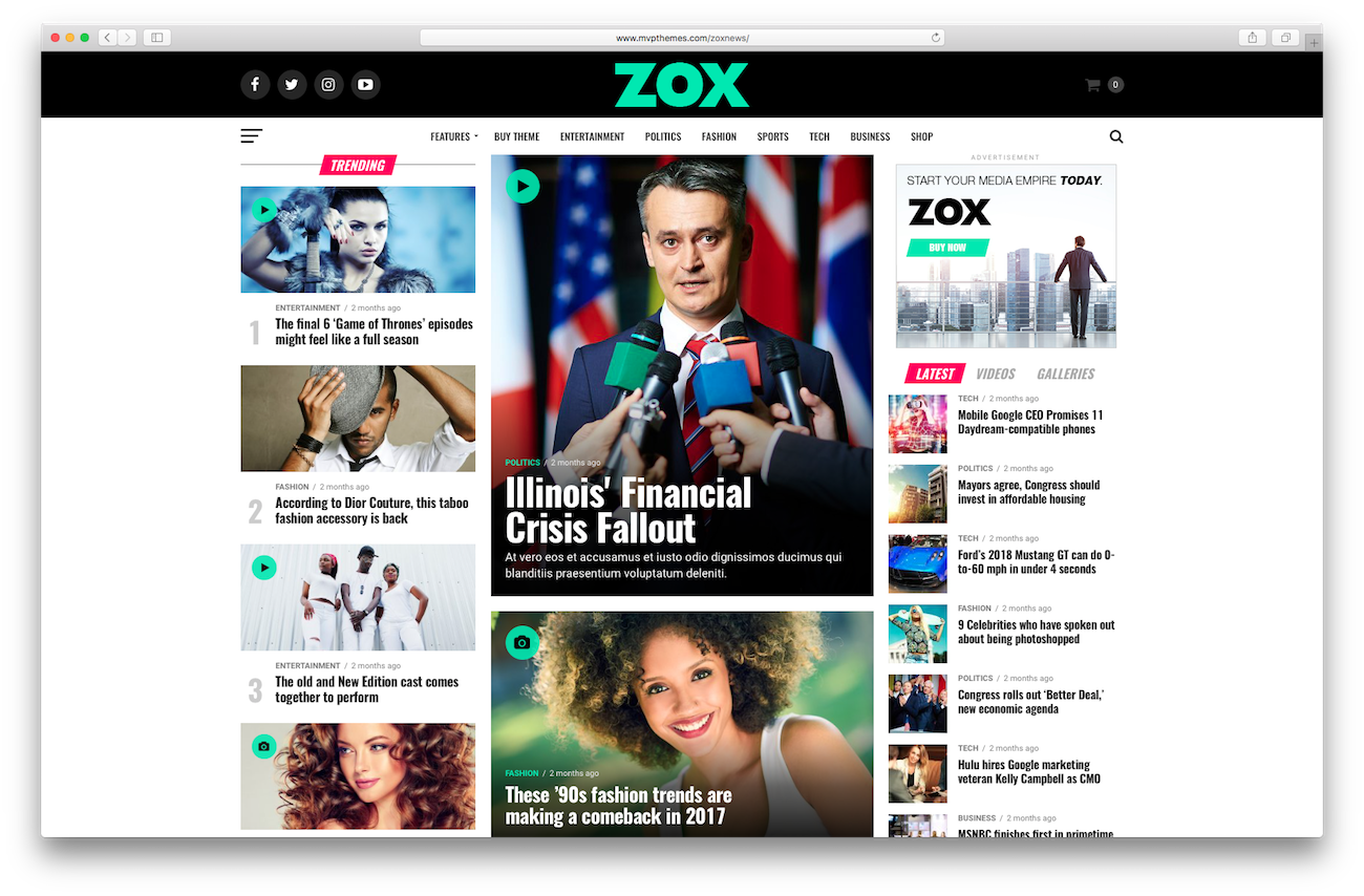 WordPress magazine themes Zox News