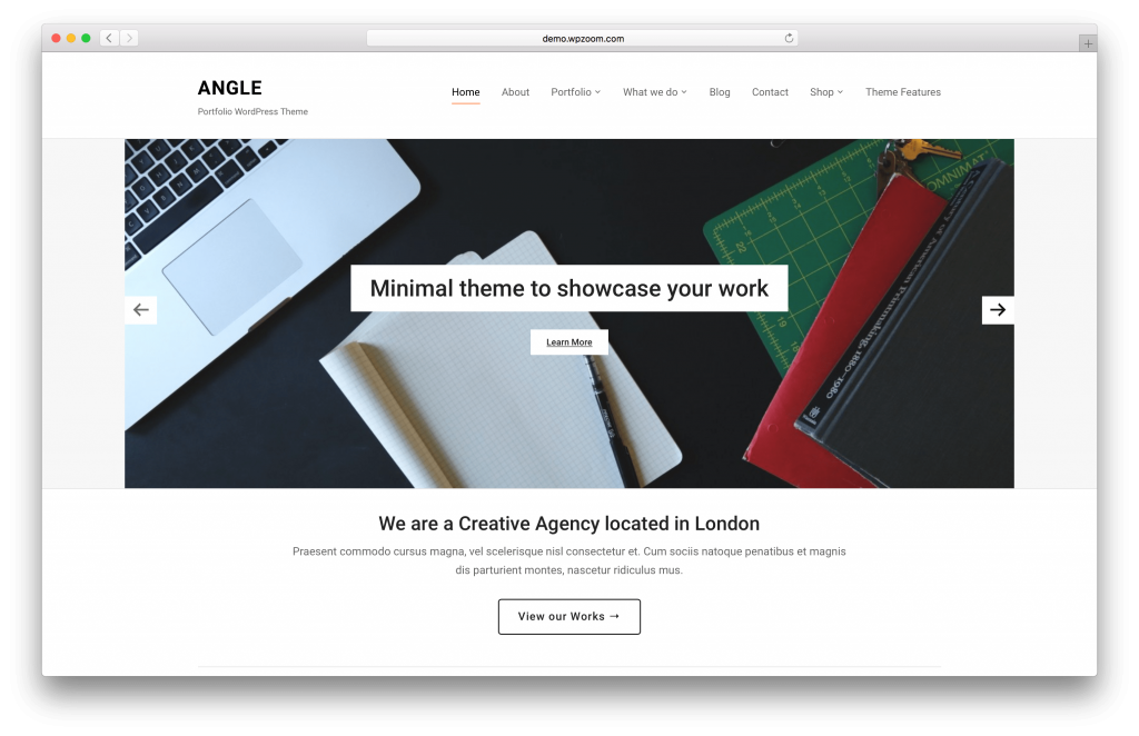 Angle portfolio WordPress theme screenshot