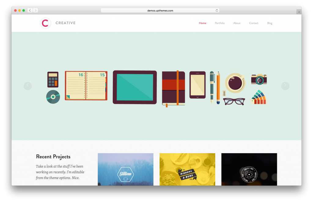 Creative portfolio WordPress theme screenshot