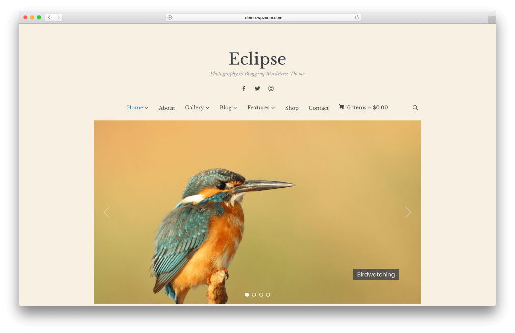 Eclipse portfolio WordPress theme screenshot