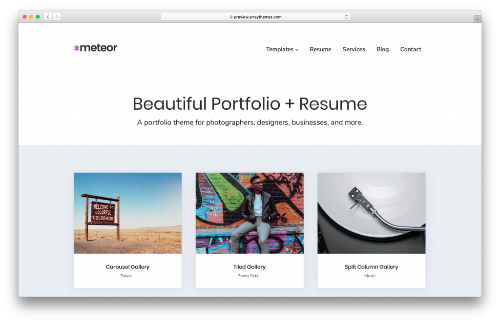 Meteor portfolio WordPress theme screenshot