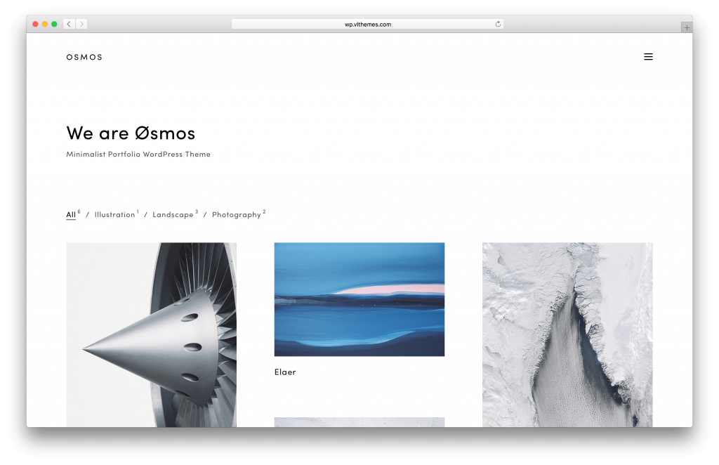 Osmos portfolio WordPress theme screenshot
